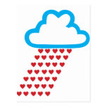 Raining Red Hearts Post Cards