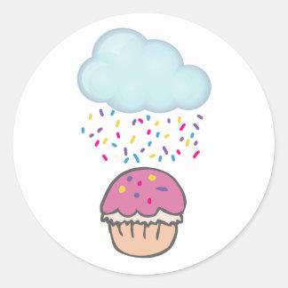 Raining Sprinkles on Cupcake Round Sticker