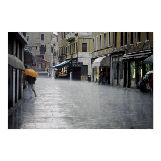 Rainstorm in Venice, Italy Poster