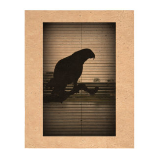 Rainy Day African Grey Parrot Silhouette Cork Fabric