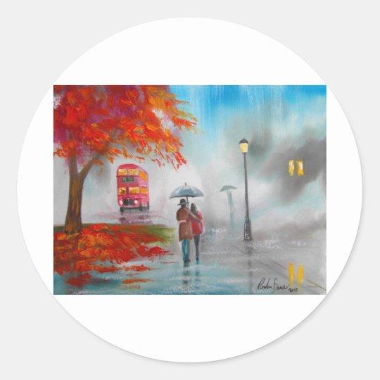 Rainy day autumn red bus umbrella painting classic round sticker