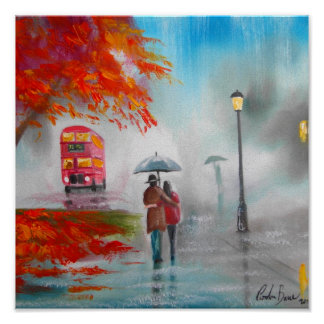 Rainy day autumn red bus umbrella painting poster