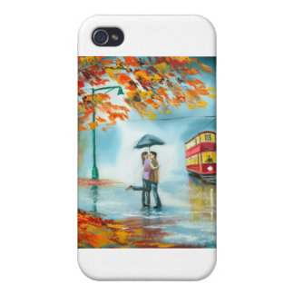 Rainy day autumn red tram umbrella romantic couple covers for iPhone 4