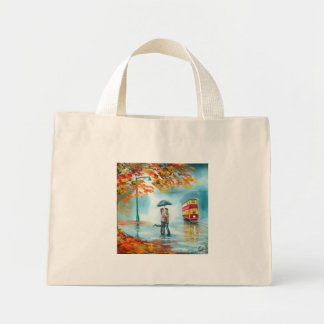 Rainy day autumn red tram umbrella romantic couple mini tote bag