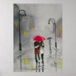 Rainy day autumn red umbrella romantic couple print