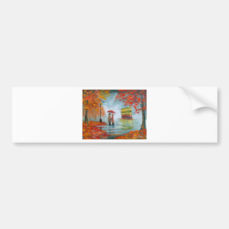 Rainy day autumn red umbrella tram painting bumper sticker