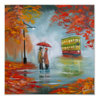 Rainy day autumn red umbrella tram painting poster