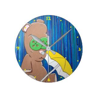 Rainy Day Bear Wall Clock