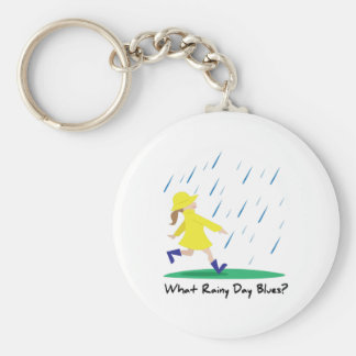 Rainy Day Bllues Basic Round Button Key Ring