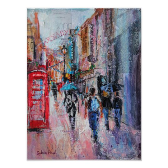 Rainy Day Carnaby Street Poster