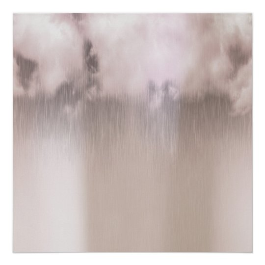 Rainy Day Clouds Pink Rose Gold White Poster