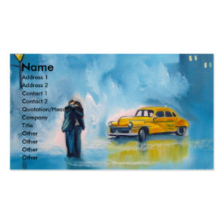 RAINY DAY COUPLE YELLOW TAXI CAB PACK OF STANDARD BUSINESS CARDS