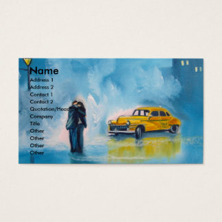 RAINY DAY COUPLE YELLOW TAXI CAB BUSINESS CARD