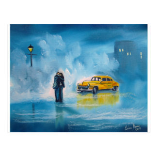 RAINY DAY COUPLE YELLOW TAXI CAB POST CARD