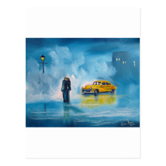 RAINY DAY COUPLE YELLOW TAXI CAB POSTCARDS