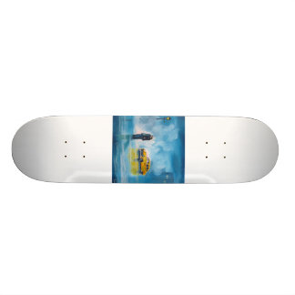 RAINY DAY COUPLE YELLOW TAXI CAB SKATE DECK