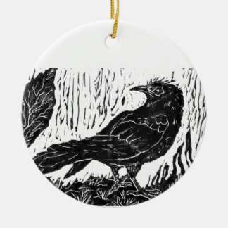 Rainy Day Crow -- block print Christmas Ornament