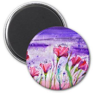Rainy Day Flowers 6 Cm Round Magnet