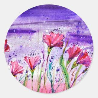 Rainy Day Flowers Round Sticker