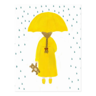 Rainy Day Girl with Teddy Bear Postcard