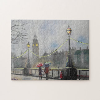Rainy day in London couple with an umbrella Jigsaw Puzzle