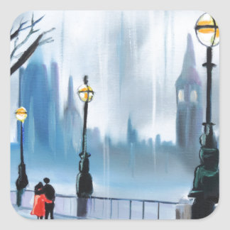 Rainy day in London Thames painting by G Bruce Square Sticker