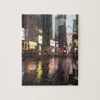 Rainy Day in Times Square NYC New York City Photo Jigsaw Puzzle