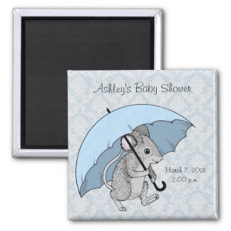Rainy Day Mouse Square Magnet