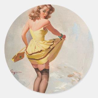 Rainy Day Pin-Up Girl Classic Round Sticker