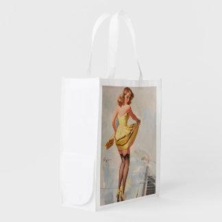 Rainy Day Pin-Up Girl Reusable Grocery Bag