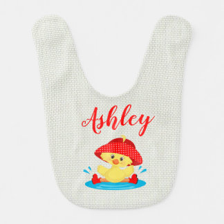Rainy Day Puddle Duck Red Rain Hat Boots Baby Bib