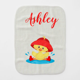 Rainy Day Puddle Duck Red Rain Hat Boots Baby Burp Cloth