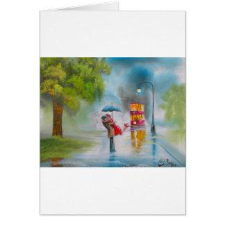 Rainy day red tram romantic couple umbrella card