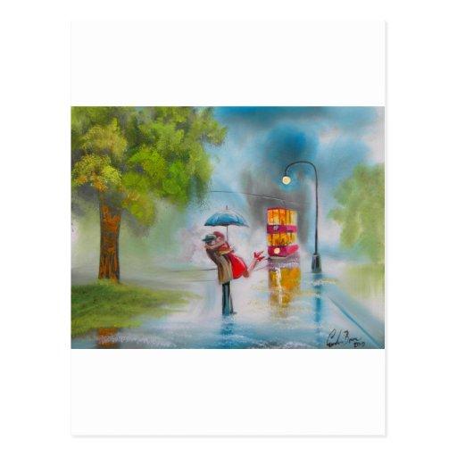 Rainy day red tram romantic couple umbrella post card