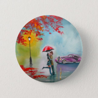RAINY DAY RED UMBRELLA ROMANTIC COUPLE 6 CM ROUND BADGE