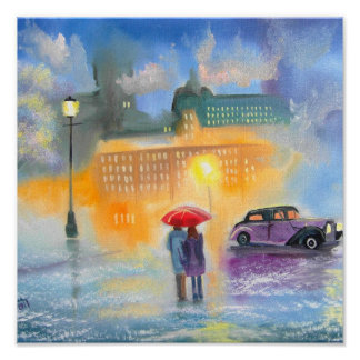 Rainy day red umbrella romantic couple walk poster
