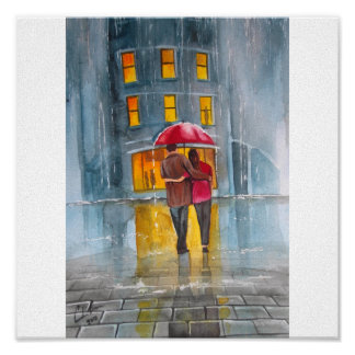 RAINY DAY RED UMBRELLA street scene PAINTING Posters