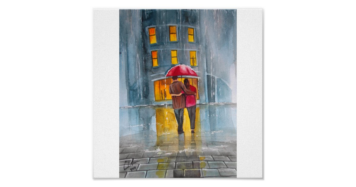 Rainy Day Red Umbrella Street Scene Painting Poster