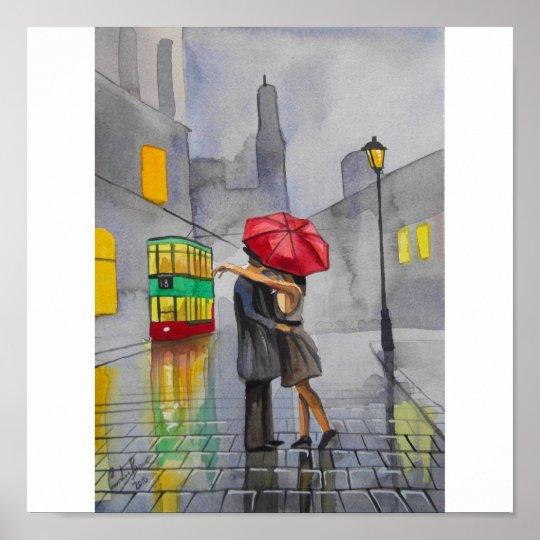 RAINY DAY RED UMBRELLA tram street scene PAINTING