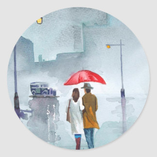 Rainy day romantic couple red umbrella painting classic round sticker