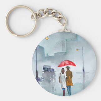 Rainy day romantic couple red umbrella painting key ring