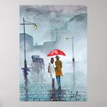 Rainy day romantic couple red umbrella painting print