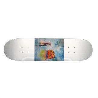 RAINY DAY ROMANTIC COUPLE TRAM romantic couple Skate Board Deck