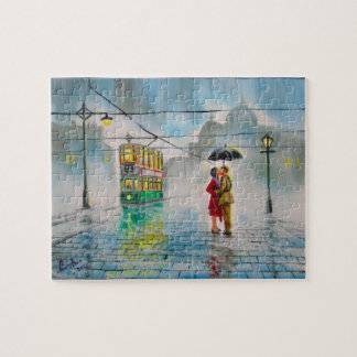 rainy day romantic couple umbrella tram painting puzzles