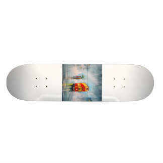 RAINY DAY UMBRELLA RED TRAM romantic couple Custom Skate Board