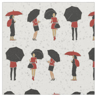 Rainy Day Women in Red and Black Umbrellas Fabric