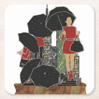 Rainy Day Women's Fashions Paper Coasters