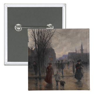 Rainy Evening on Hennepin Avenue, c.1902 15 Cm Square Badge