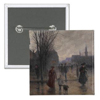 Rainy Evening on Hennepin Avenue, c.1902 15 Cm Square Badge