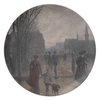 Rainy Evening on Hennepin Avenue, c.1902 Plate